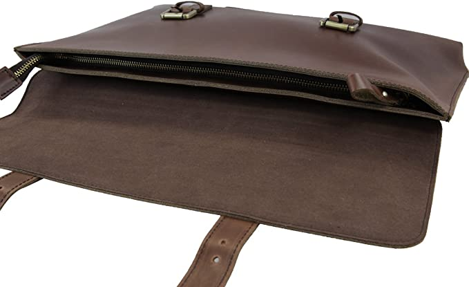 LB1 High Performance Leather Unisex Business Messenger Bag Briefcase Bag for Toshiba Satellite S75 Laptop Intel Core i7-4700MQ 2.4GHz Blu-Ray Player Office Home and Student 2013 Brown