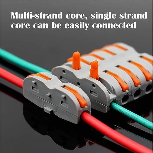 Conductores de Surtido Conectores de Cable Compacto SPL-2 Bloque de Terminales de Barra de Presi/ón Bilateral de 4 Orificios Paquete de 15 CESFONJER Lever-Nut Surtidas Conector