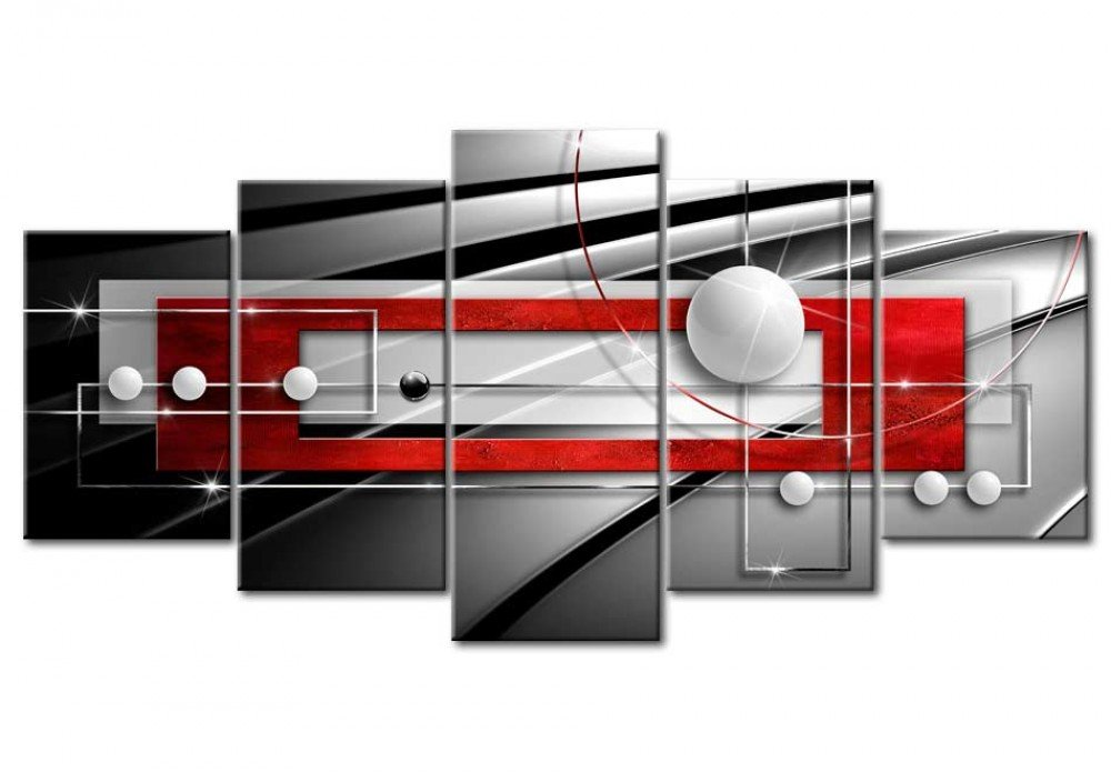 AWLXPHY Decor Abstract Wall Art Canvas Red and Black 5 Pieces for Bedroom Decor Modern Simple Geometric Framed Painting Circle Line HD Print Artworks Giclee Small Red, W40 x H20