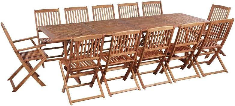 Fesjoy Juego de Muebles de Madera para jardín Conjunto de sillas de Mesa, sillas Plegables de 12 Asientos para el Patio con Mesa Ideal para la Vida al Aire Libre: Amazon.es: Electrónica