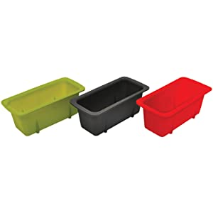 Starfrit 080335-006-0000 Set of 3, Silicone Mini Loaf Pans, Green/Red/Gray