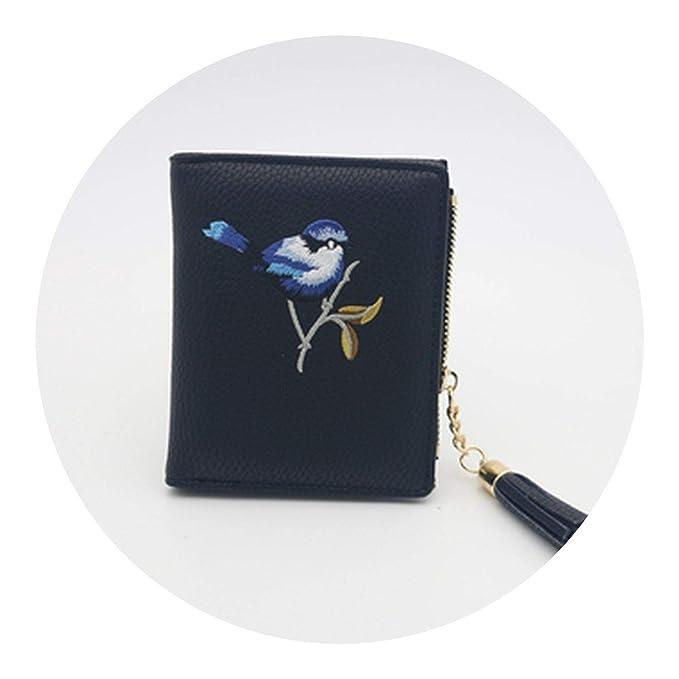 Amazon.com: Billetera de mujer bordada delgada mini cartera ...
