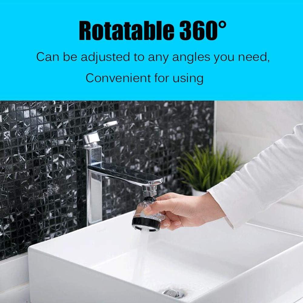 filtro a prueba de salpicaduras potenciador de grifo para ba/ño y cocina grifo de ahorro de agua ajustable de 3 modos Kaxich Aireador de grifo giratorio de 360 /°
