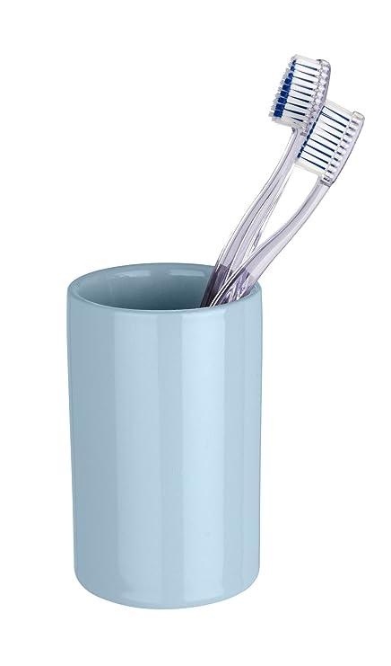Wenko Polaris Vaso para Cepillos de Dientes, Cerámica, Azul Claro, 7x7x11 cm