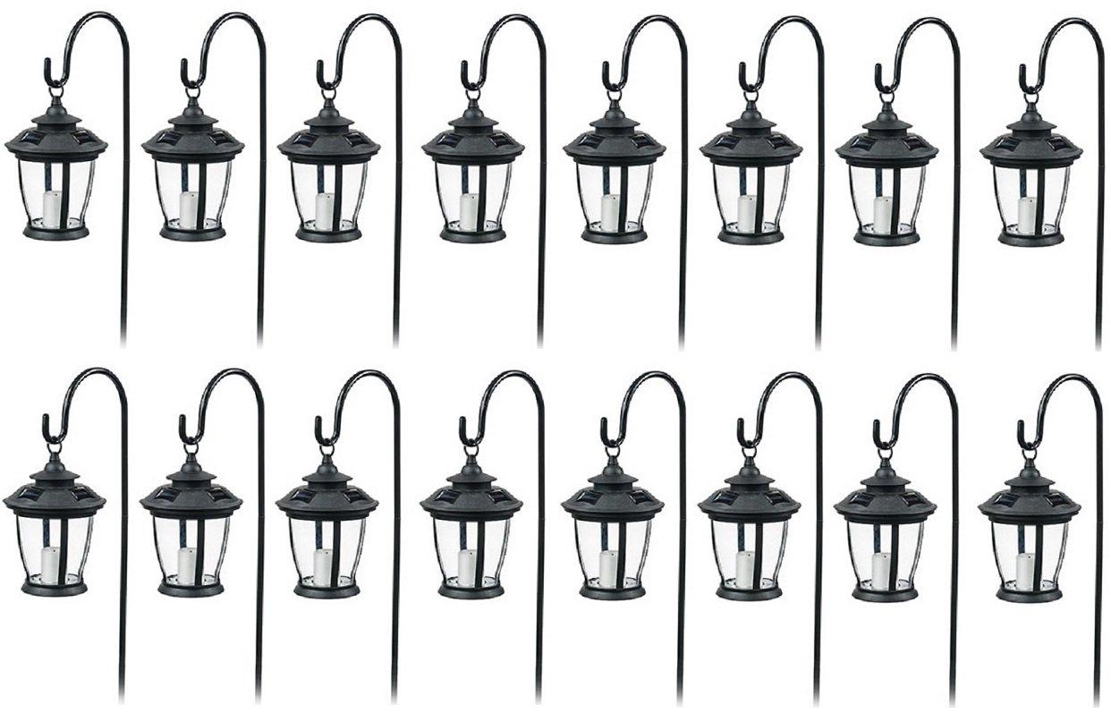Four Seasons TV29960BK Black, Solar Candle Pathway Lantern Lights - Quantity 16