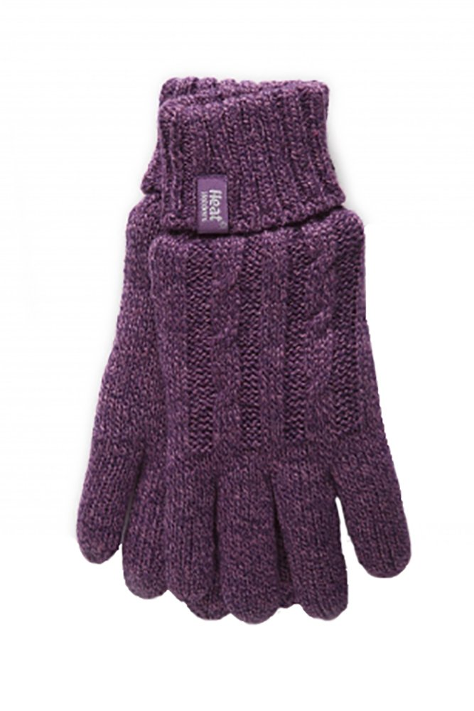 Heat Holders - Women's Thermal Heat Weaver Cable Knit 2.3 Tog Gloves - S/M (Medium/Large, Purple)