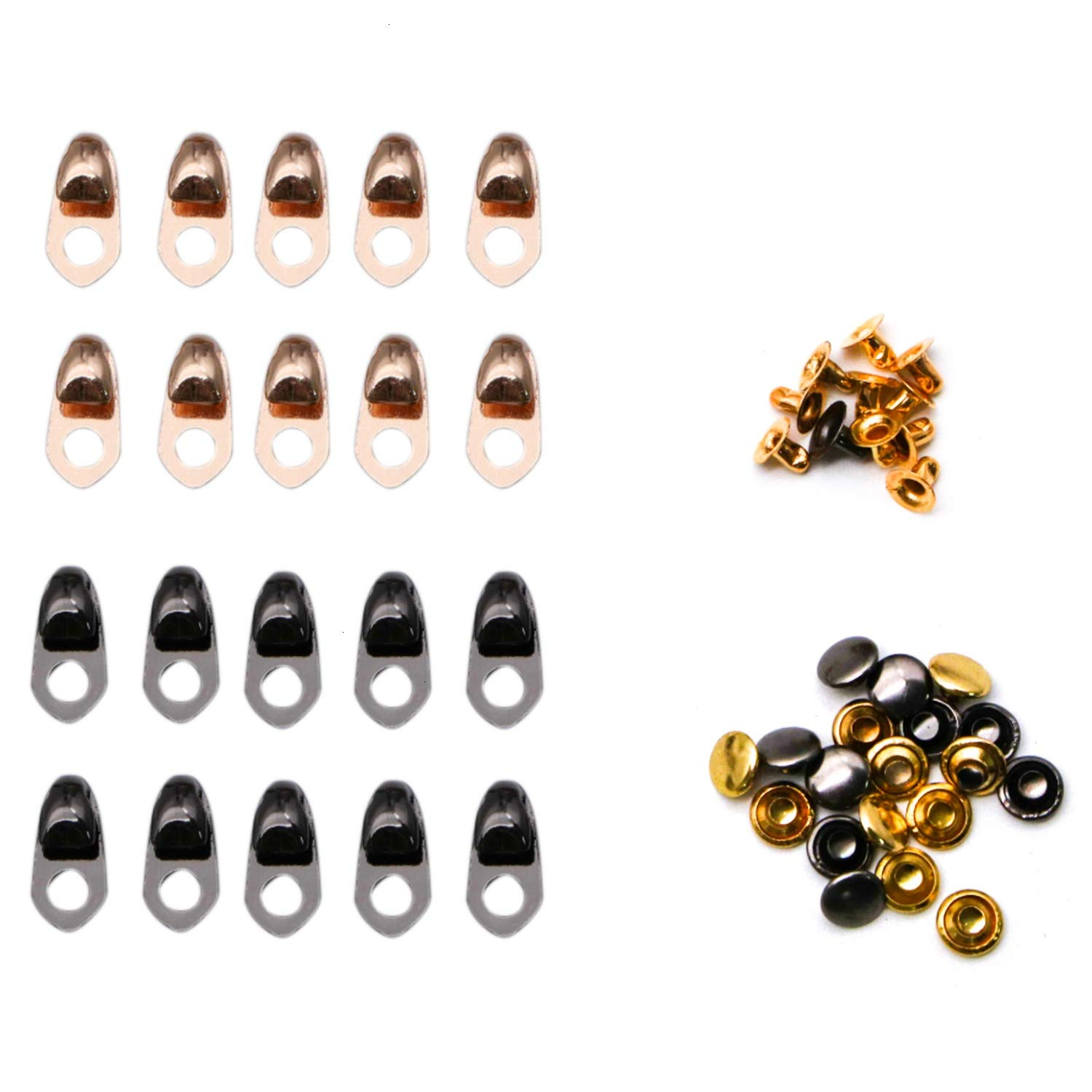 20 Set Boot Hooks Lace Fittings with Rivets Shoelace Buckles​ for Repair Camp Hike Climb Accessories Gun Black and Gold Vumdua Boot Lace Hooks