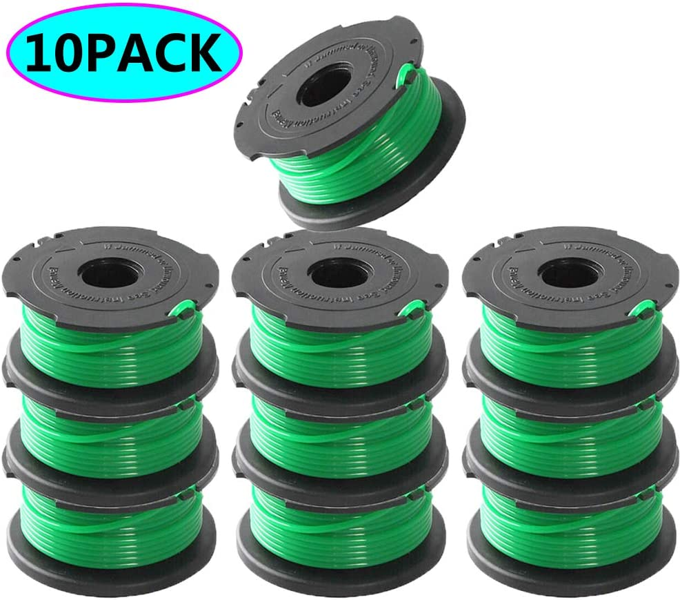 LIYYOO SF-080 Auto Feed Replacement Spool Single Line Compatible with Black and Decker GH3000 LST540 LST540B GH3000R SF-080-BKP String Trimmer,20ft 0.080 Inch Auto Feed Spool Line(10 Pack)