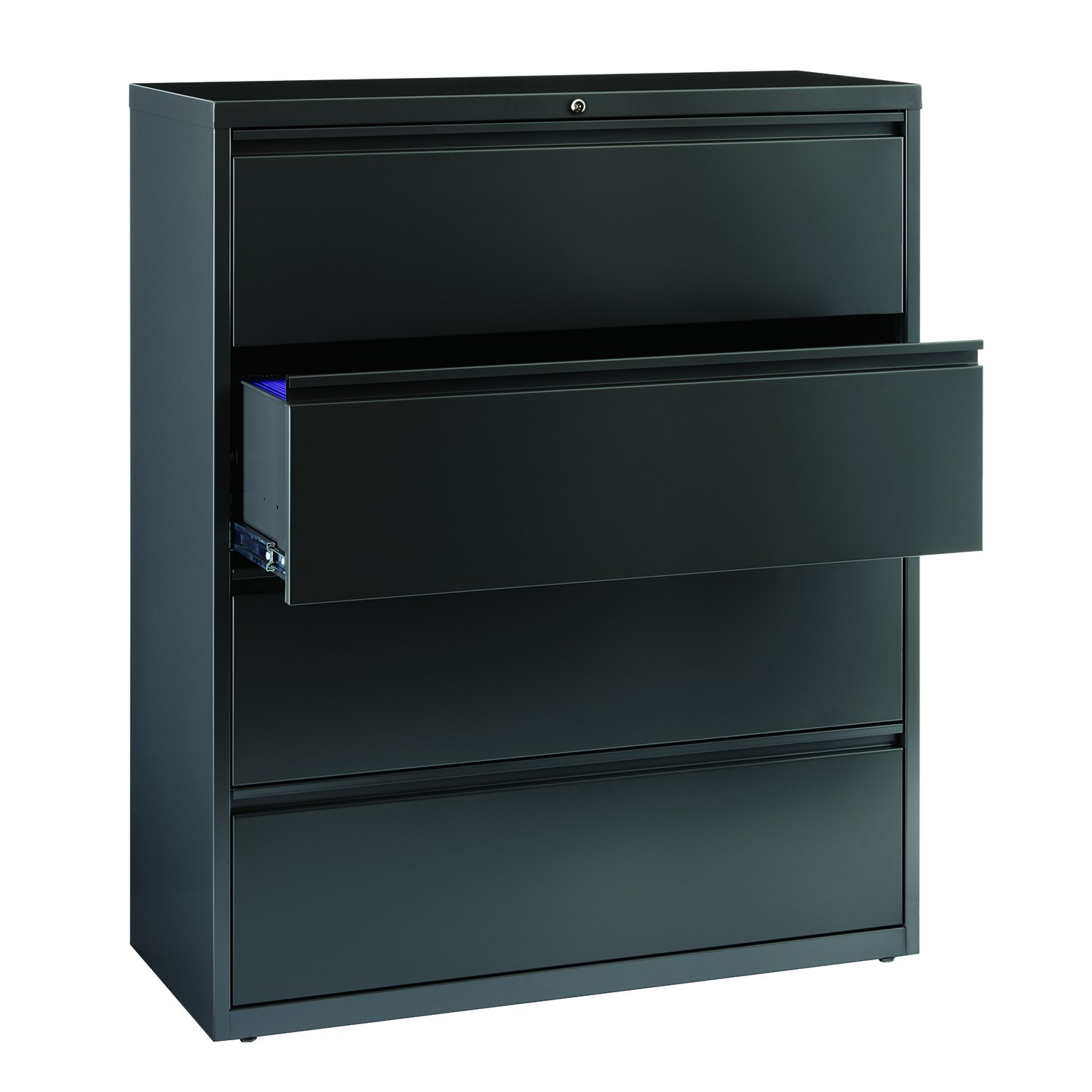 Office Dimensions Commercial Grade 42'' Wide 4 Drawer Lateral File Cabinet, Charcoal