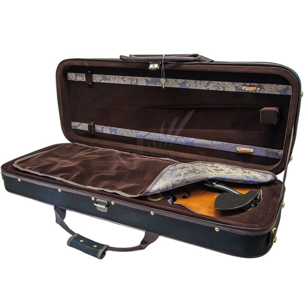 Paititi 16 inch Professional Oblong Shape Lightweight Viola Hard Case with Hygrometer Black/Brown