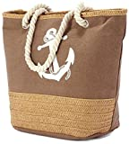 Large Canvas Beach Bag with Soft Rope Handles - Aztec/Anchor/Shell (BZ4773 BROWN)