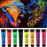Makeup Cream Face Paint UV Glow Body Paint 8 Bottles UV Reactive Fluorescent Pigment Set 0.95 oz. Big Bottle