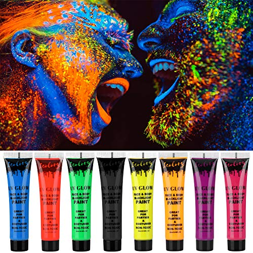 Makeup Cream Face Paint UV Glow Body Paint 8 Bottles UV Reactive Fluorescent Pigment Set 0.95 oz. Big Bottle]()