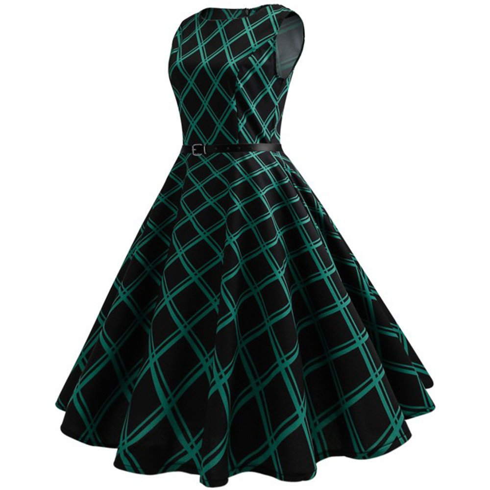 OWMEOT Women Vintage Traditional African Dress O-Neck Sleeveless Party Dress (Green, L)