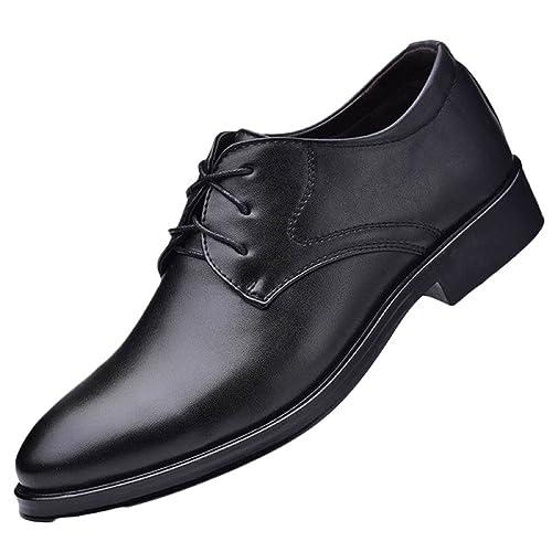 Zapatos De Cuero Negro para Hombre Slip En Boda con Cordones ...