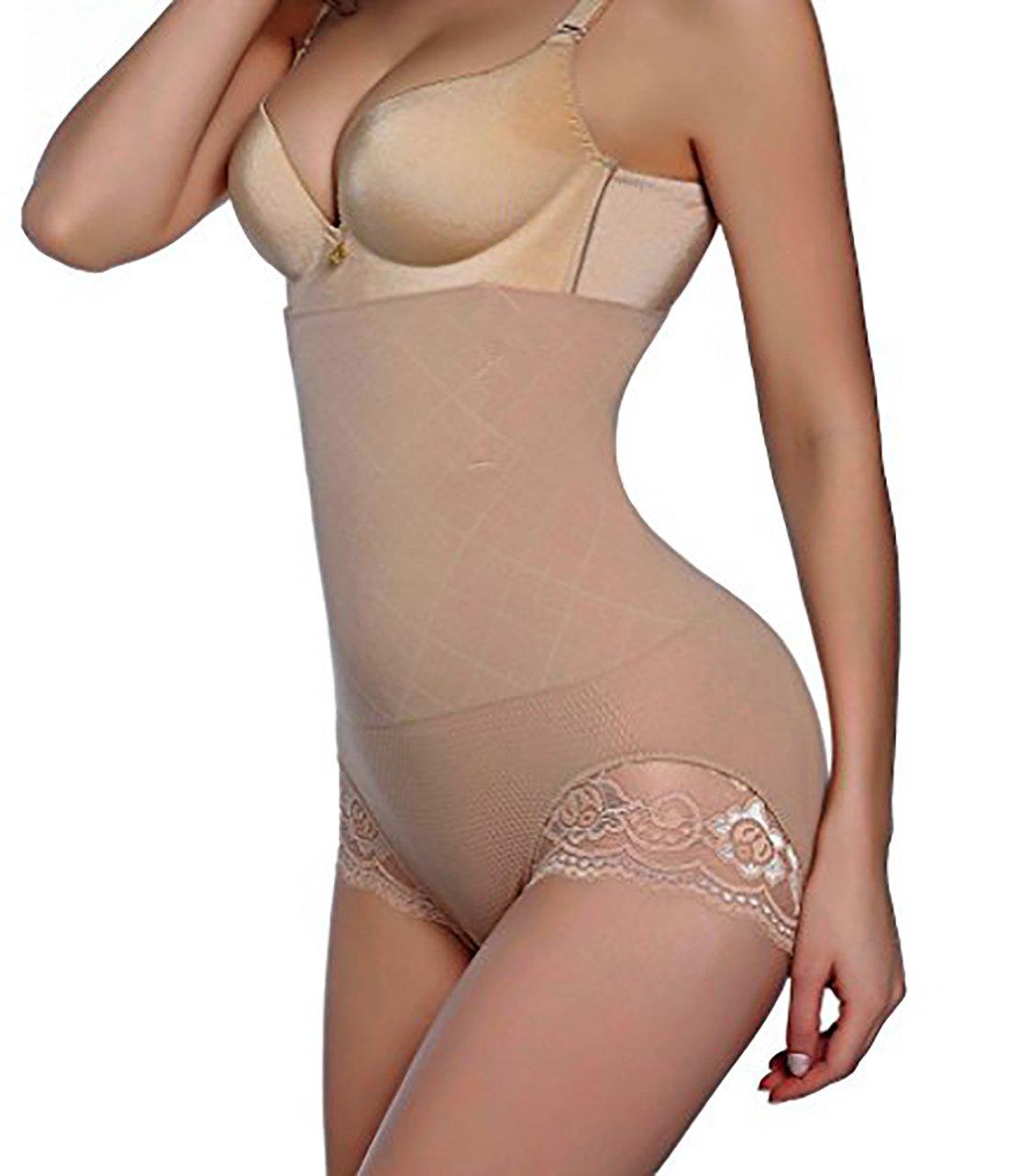 GAODI Women Body Shaper Butt Lifter Hi-Waist Panty Seamless Waist Trainer Tummy Control Shapewear (M/L, Beige)