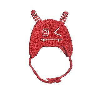 Euone Baby Toddler Kids Boy Girl Knitted Crochet Cat Ear Beanie Winter Warm Hat Cap (Red)
