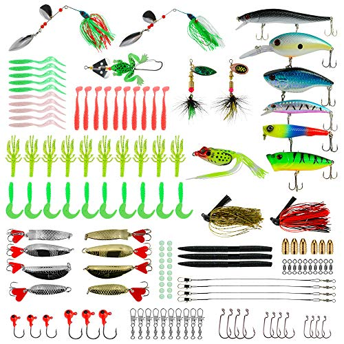 ROSE KULI Fishing Lures Baits Tackle Kit, 133Pcs Set with Crankbaits, Spinnerbaits, Topwater Lures, Fishing Spoons, Plastic Worms, Jigs, Fishing Hooks, Tackle Box and More Fishing Gear Lure