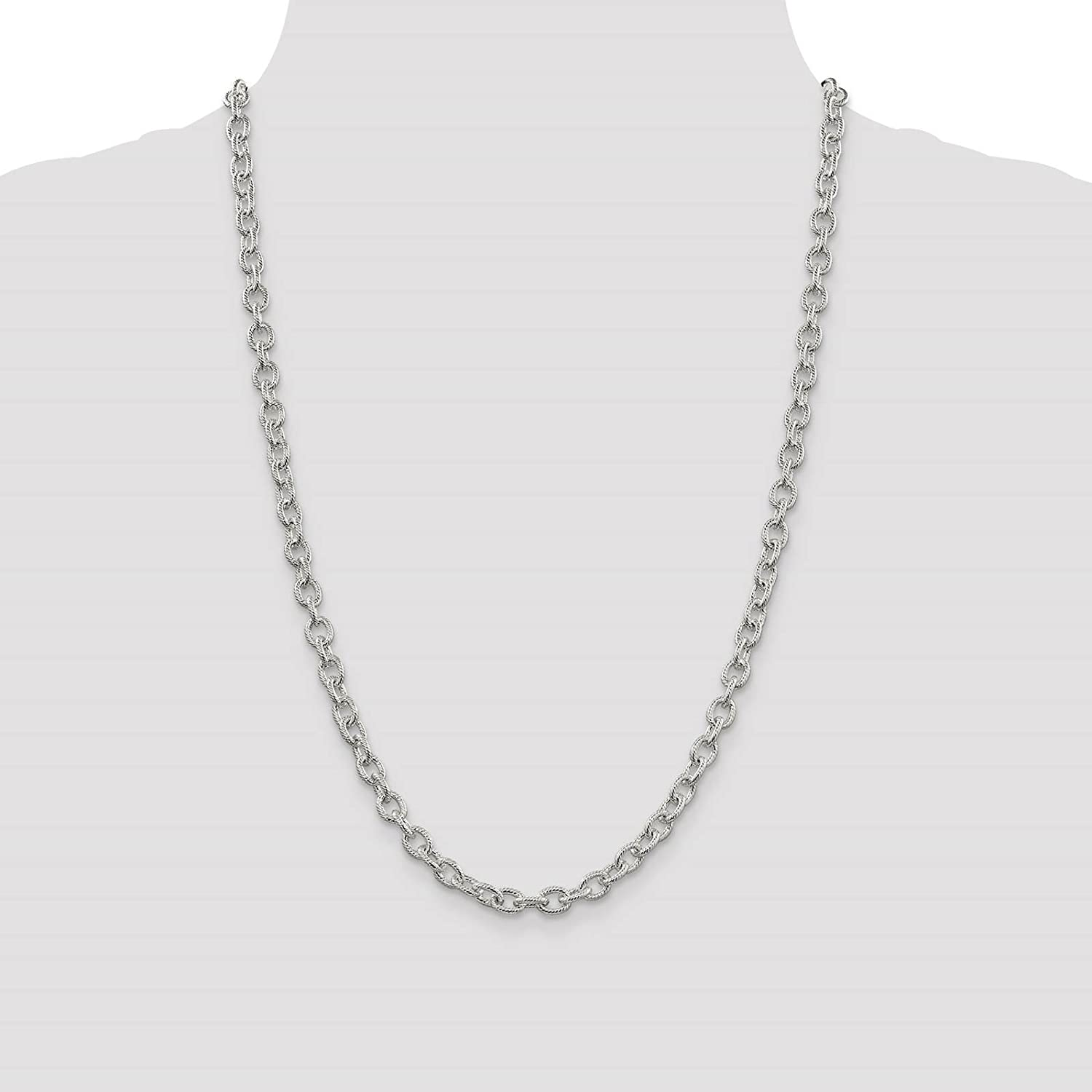925 Sterling Silver 6.2mm Fancy Textured Rolo Link Chain Necklace 7-30