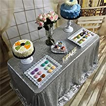 "TRLYC 6FT 90""*132"" Free Shipping Silver Sequin Table Cloth for Wedding Party and Events"