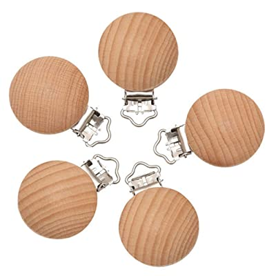 5 Pcs Wood Baby Pacifier Clips Round Wooden Teething Beads Clips Baby Soother Holders Teether Toy : Baby