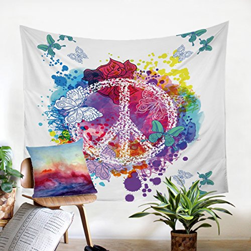Sleepwish Peace Sign Tapestry 3d Butterfly Tapestry Wall Hanging Rainbow Watercolor Tapestry Dorm Decor (80x60 Inches) (Peace Sign Tapestries)