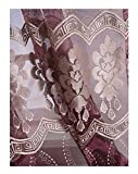 Aside Bside Luxurious Floral Wave Embroidered Rod Pockets Symmetric Artistic Pattern Sheer Curtains (1 Panel, W 52 x L 63 inch, Purple 17) -128158052638517C1PGC