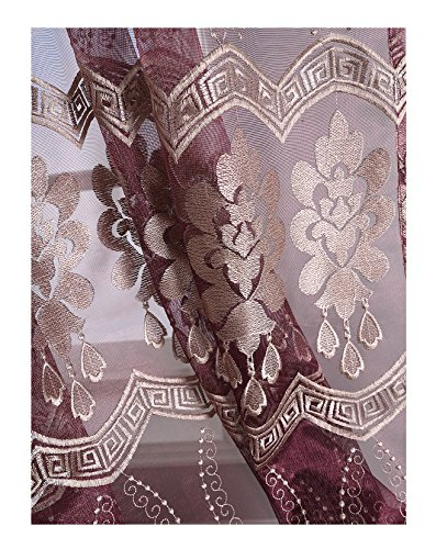 Pocket 300 Knife Knives (Embroidered Sheer Voile Window Curtains Luxury Graphic Embroidery Design Rod Pocket Treatment Draperies For Living Dining Room(1 Panel, W 50 x L 84 inch, Purple) -1280736C1FFCVTX65084-8517)