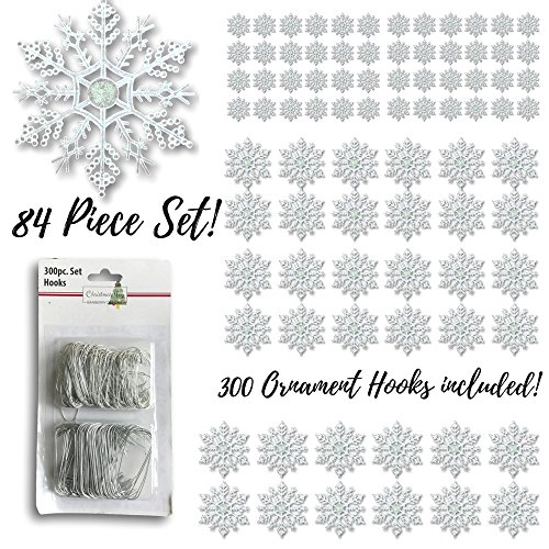 BANBERRY DESIGNS Snowflake Ornaments - Set of 84 Assorted Sized Snowflakes - 4