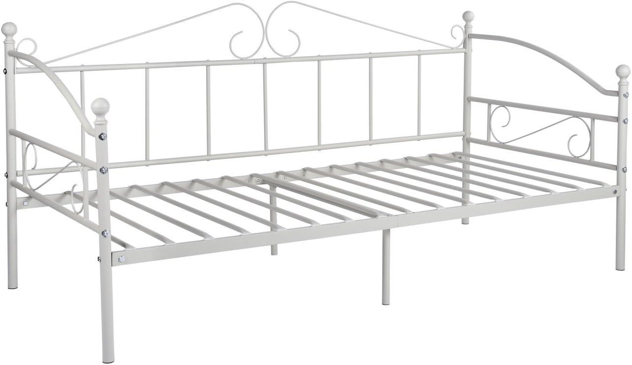 DORAFAIR Cama Metálica Diván Cama de día para Dormitorio Salón Cuarto de Invitados, Adecuado para Colchón de 90 * 190 cm, Blanco