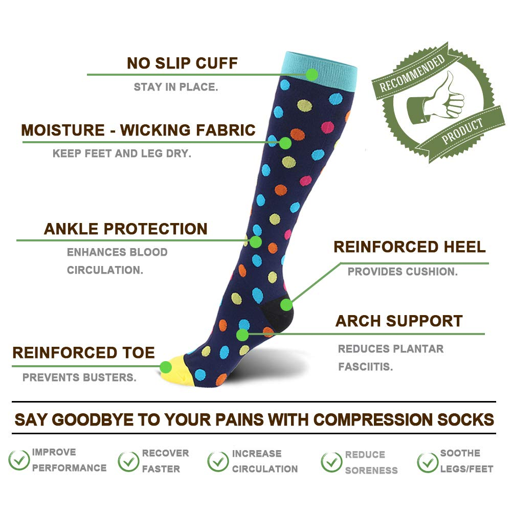 Compression Socks for Men & Women - 20-30mmHg 2 to 3 pairs Compression Stockings for Runners, Edema (Small/Medium, Assort 8, 6 pairs) by Fotociti (Image #4)