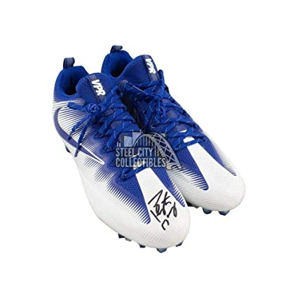 on sale 0bad9 b827c Peyton Manning Autographed Blue Nike Football Cleats ...