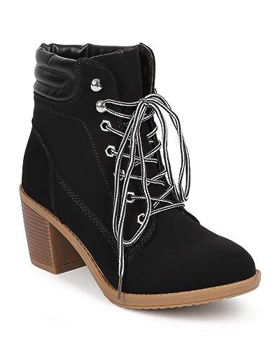 59bb691a5f Wild Diva Women Nubuck Round Toe Chunky Heel Lace Up Work Bootie DD75 -  Black (