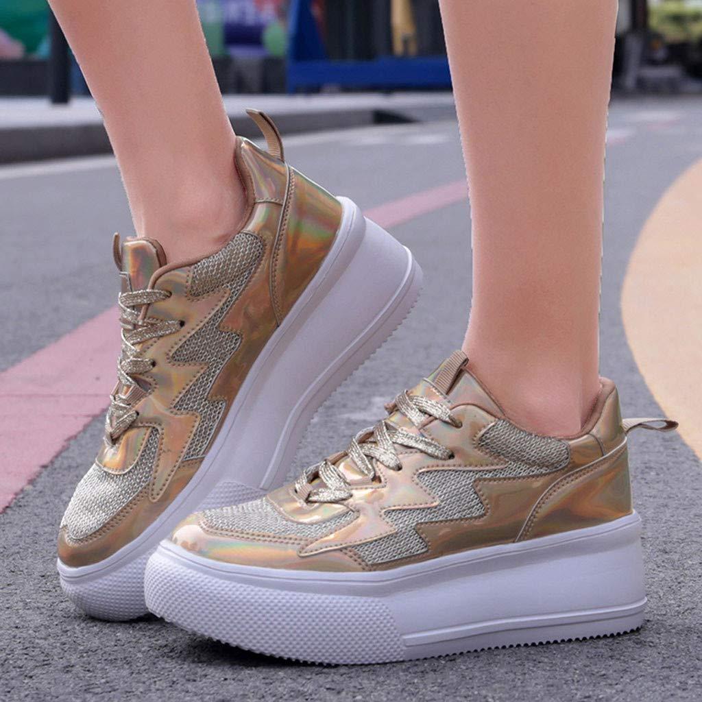 POLPqeD Scarpe Donna Sneakers Scarpe da Corsa con Zeppa Eleganti Antiscivolo Leggere Moda Casual Fondo Spesso Lace Up Sport Running Scarpe