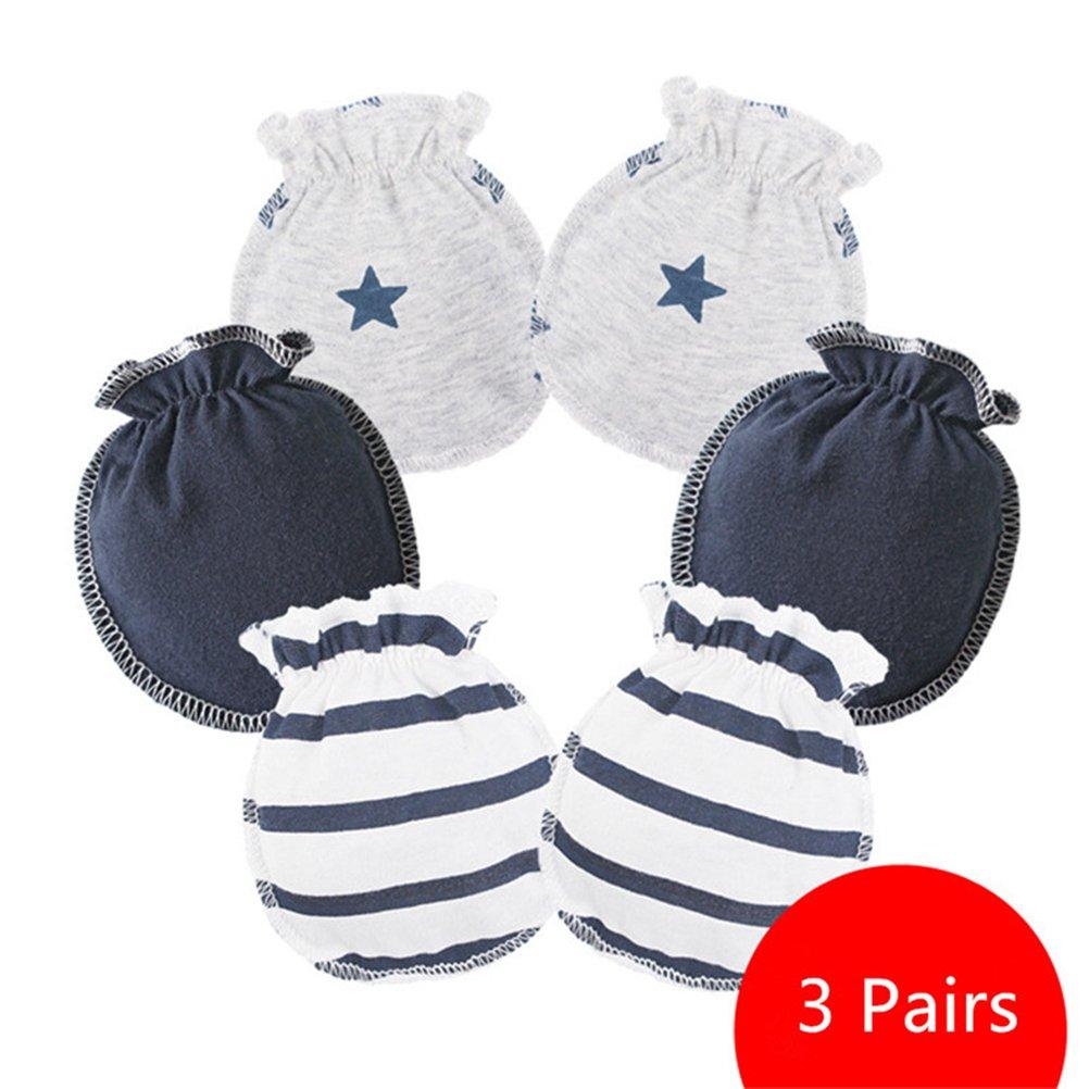 Affe 3pares/lot bebé niña niño guantes manoplas antiarañazos para recién nacido azul claro ZGJ