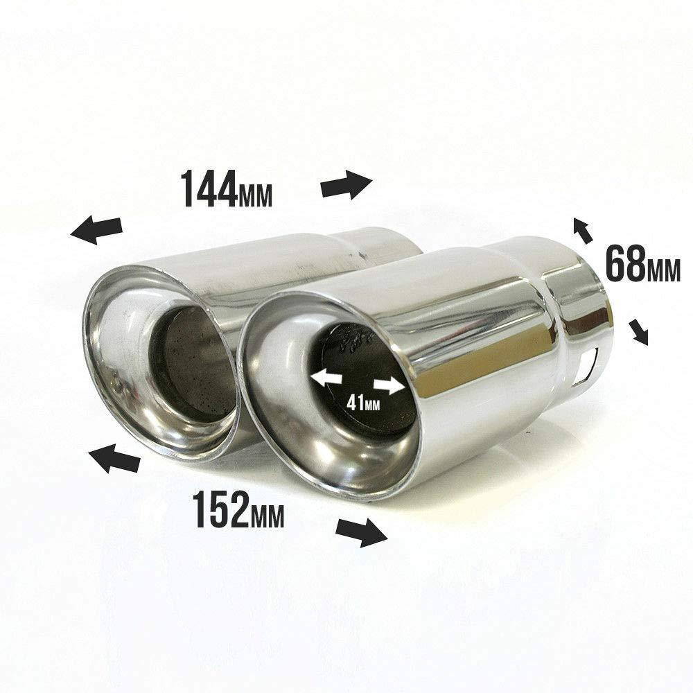 Autohobby 0019 Auspuffblende Auspuff Universell Schalldampf Doppelendrohr Endrohr Endrohrblenden Blende Sport Edelstahl bis 65mm Chrom A B C G H J CC 3 4 5 6 7