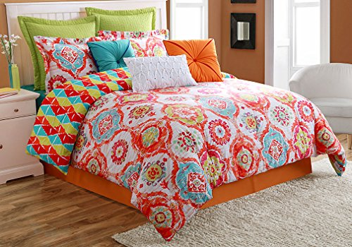 Ava Comforter Set (Fiesta 4 Piece Ava Comforter Set with Bed Skirt & 2 Pillow Sham, King)