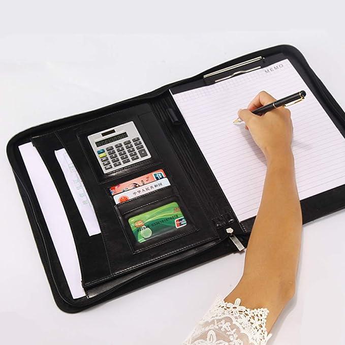 Cuero Business Carpeta A4 portátil Manager Calculadora de bolsa de ...