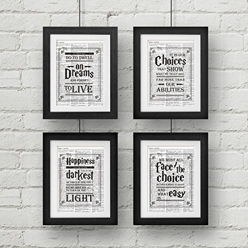 akeke Harry Potter Quotes & Sayings Vintage Dictionary Art Prints - Set of 4-8