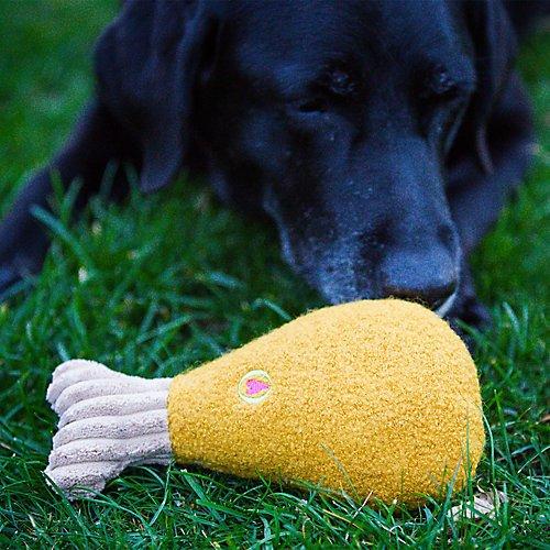 Turkey Leg Chews Big (HuggleHounds Thanksgiving Wooly Turkey Leg Dog Toy)