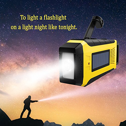 RunningSnail AM/FM NOAA Weather Emergency Solar Digital Crank Radio with 3W LED Flashlight, SOS Alarm & 2000MAh Power Bank(Yellow) … by RunningSnail (Image #3)
