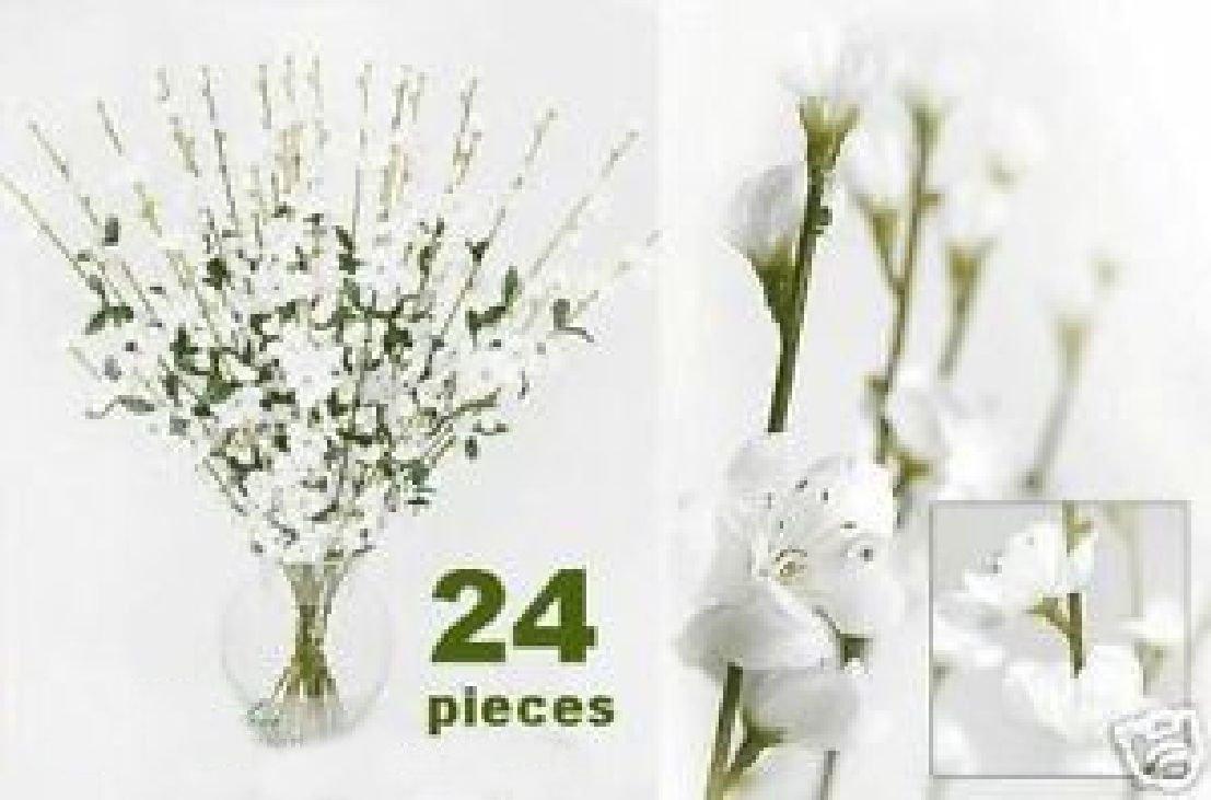 24 pcs Artificial Silk Flower Cherry Blossom x4 White by Black Decor Home