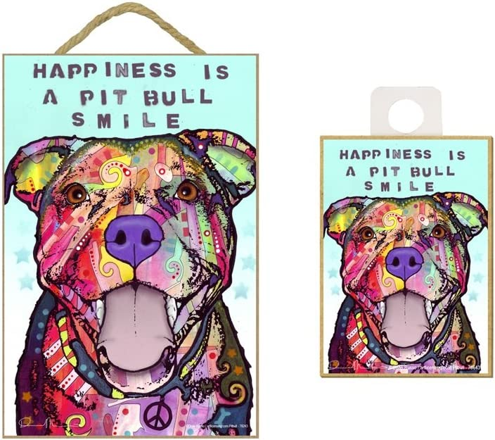 "WolfDreamsDecor Dean Russo Happiness is a Pitbull Smile Wood Plaque Sign with Matching 2.5"" x 3.5"" Fridge Magnet Novelty Gift"