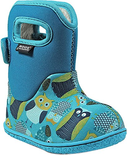 Insulated Toddler/Kids Rain Boots For Boys and Girls, Owls Print/Blue/Multi, 6 M US Toddler (Print Footbed)