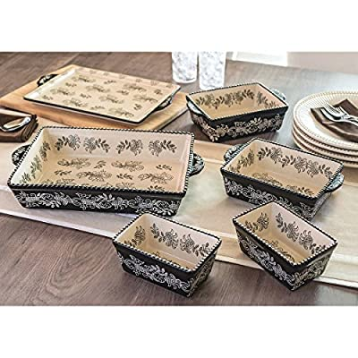Baum Dishwasher Safe Ceramic Serveware/Bakeware in Black, 6-Piece Oven-to-Table Set that's Designed to Make Gatherings Easy and Breezy, Perfect for the Holidays or Everyday Use