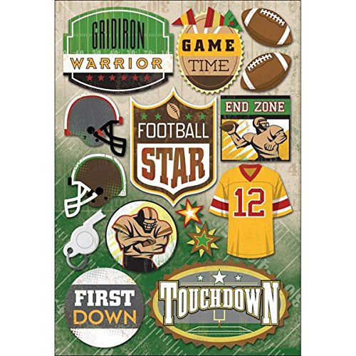 KAREN FOSTER Design Acid and Lignin Free Scrapbooking Sticker Sheet, Football Star ()