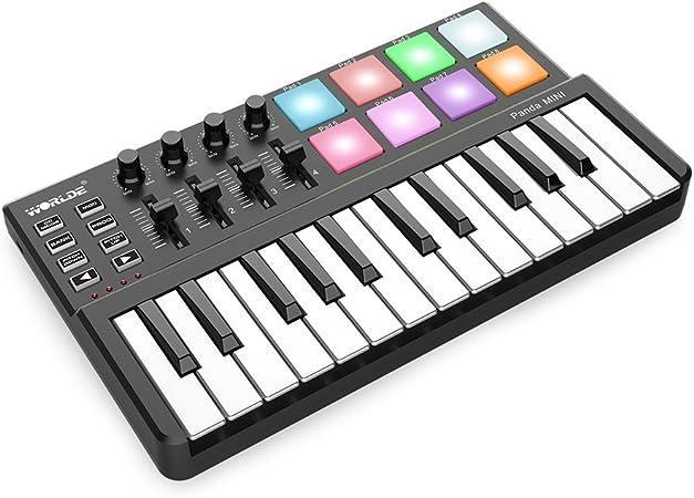 ammoon WORLDE 25-Key USB Controlador de Teclado MIDI 8 Colorido Retroiluminado Almohadillas de Gatillo