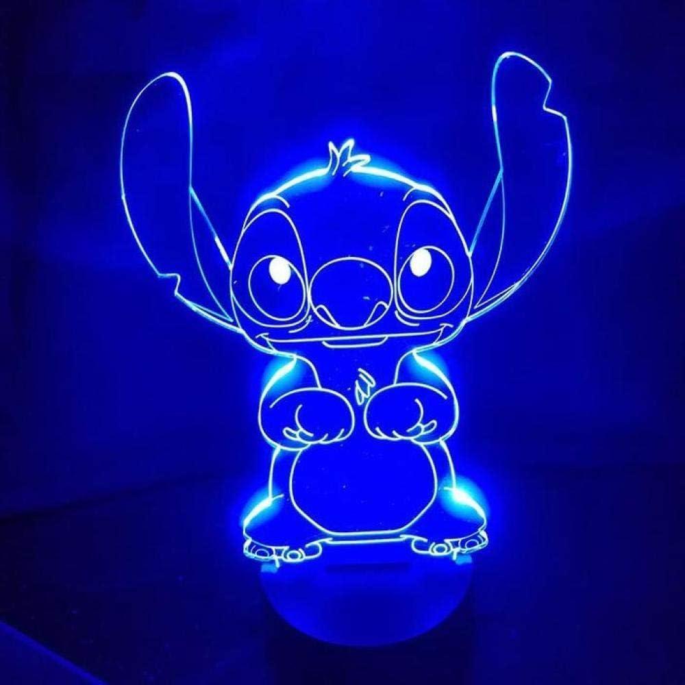 Stitch 3D Light Visual LED Night Lights 7 Changement de couleur Stitch Control LED Lampe de table pour chambre enfants cadeau