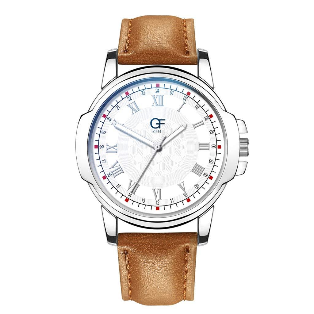Amazon.com : XBKPLO Quartz Watches Mens Analog Wrist Watch Pointer Light Large Dial Retro Leather Band Temperament Strap Watch Jewelry Gift : Pet Supplies