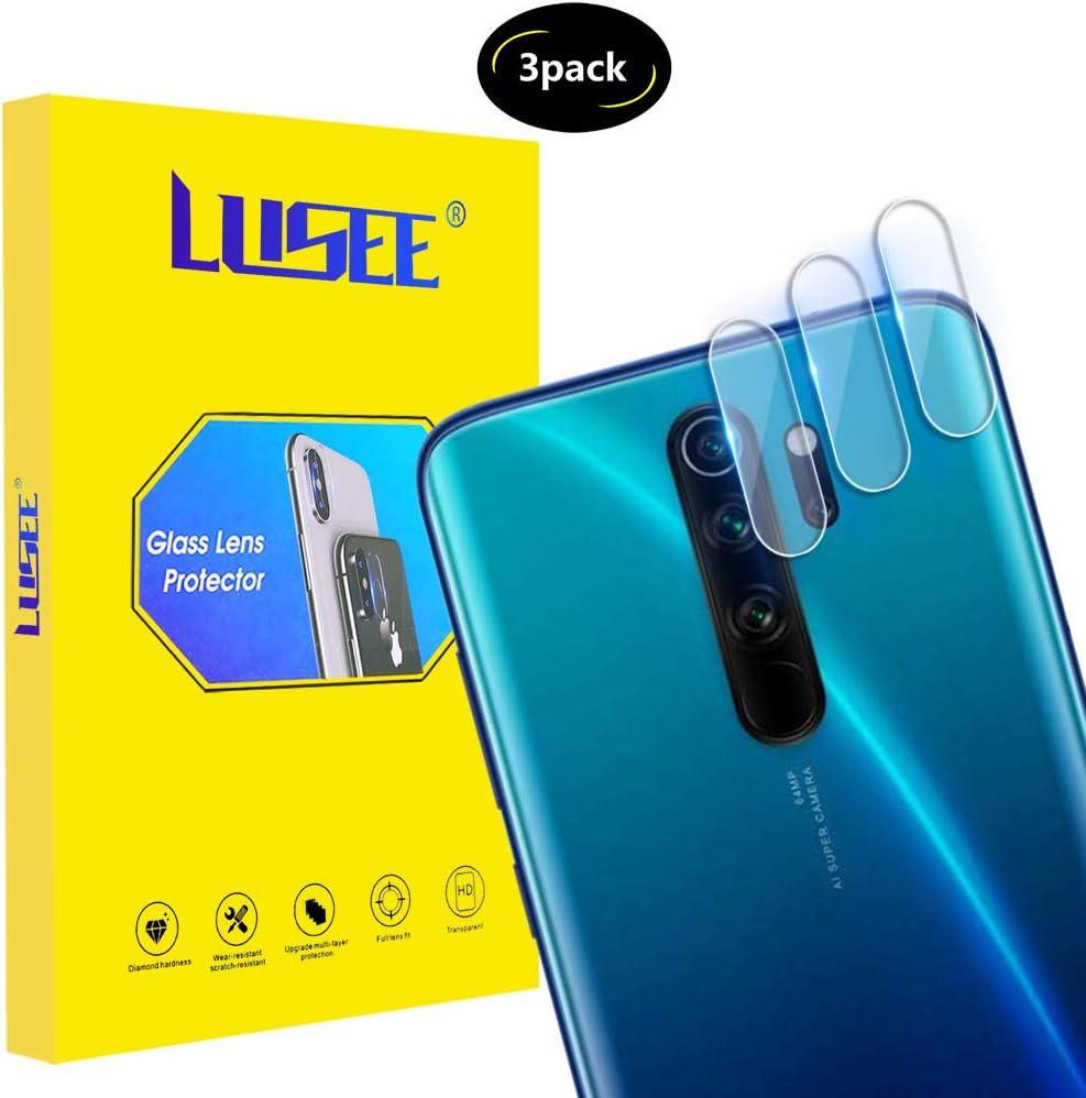 Lusee 3 Piezas Cristal Templado Lente Cámara para Xiaomi Redmi Note 8 Pro Alta Definición Ultra Clara 2.5D Protector Cámara Trasera Lente Película de Pantalla